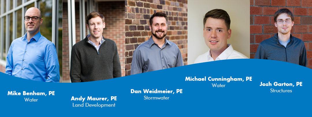 Benham, Cunningham, Garton, Maurer, and Wiedmeier Earn PE Licenses