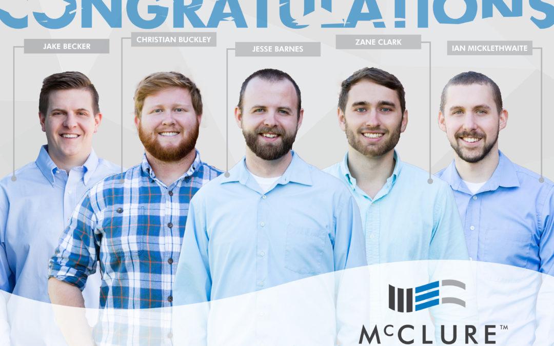 Clark, Micklethwaite, Barnes, Becker, and Buckley pass PE Exam